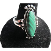 Malachite Green Sterling Silver Ring