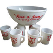 McKee Tom and Jerry Milk Glass Punch Bowl Set