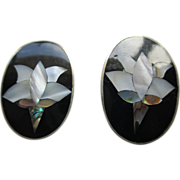 Alpaca Silver (Mexico) Abalone/Onyx Clip Earrings