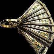 Vintage Gold tone/Enamel Fan Brooch