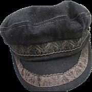 SALE Vintage Black Greek Fisherman Cap