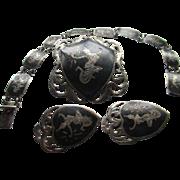 Siam Sterling Silver-Bracelet,Earrings, Brooch and Clip Earrings