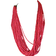 Vintage Seed Moorish-Oxblood Red  Coral Necklace /30 Strands