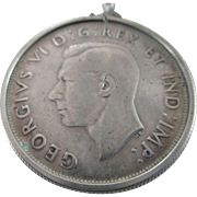 SALE 1938 Canadian .800 Coin Silver Dollar Pendent