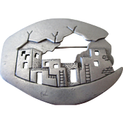 JJ Jewelry Pewter Pueblo Brooch
