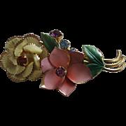Vintage Austria Rhinestone/Enamel Flower Brooch/Pin