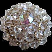 Aurora Borealis Crystal and Crystal Brooch