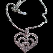 Collectable Nolan Miller Silver-tone & Crystal Heart Necklace