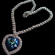 Vintage Blue Crystal/Rhinestone Heart Necklace
