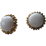 Crown Trifari Lucite Button Style Clip on Earrings