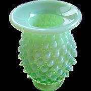 Fenton Green Opalescent Hobnail Vase