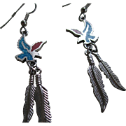 925/Silver Turquoise and Coral Dangle Eagle/Feathers Wire Earrings