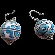 Venetian Blue/White Glass Spheres/925 Silver  Wire Earrings