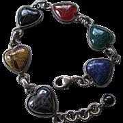 925/Silver 6 Stone Heart Linked Bracelet