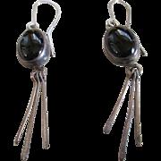 Silver/925 Black Jet Stone Wire Earrings