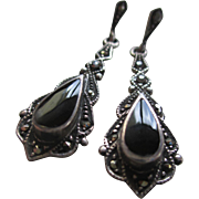 Silver 925 Black Onyx and Hematite Dangle Post Earrings