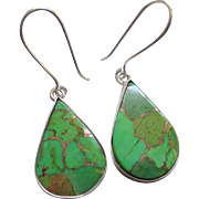 Silver /925 Natural Gaspeite Stone Wire Earrings