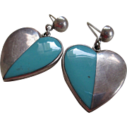 Silver 925/Turquoise Taxco  Heart Post Earrings