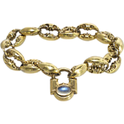 Rare 1860's Elaborate Repousse' Victorian Moonstone Padlock Bracelet 14k