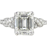 Art Deco 1930's 2.90ct t.w. Emerald Cut Diamond Filigree Engagement Wedding Ring ...