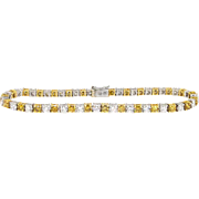 Estate 5ct t.w. Round Brilliant White & Fancy Intense Yellow Orange Diamond Tennis Bracele