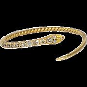 Rare 2.22ct t.w. Antique Table Old Mine Cushion Cut Diamond Serpent Bracelet 18k