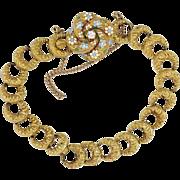 Rare Victorian Enamel & Old Mine Cut Diamond Lover's Knot Repousse' Bracelet 14k