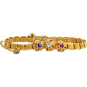 SALE Victorian Old Mine Cut Diamond, Sapphire & Ruby Knot Bracelet 14k