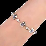 Beautiful 1930's Rare Star Sapphire & Diamond Bracelet 10k