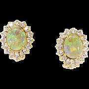 SALE Phenomenal Estate 4.50ct t.w. Mystical Opal & Diamond Omega Back Earrings 18k