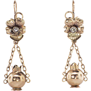 Transcendent Victorian Old Mine Cut Diamond Chandelier Floral Earrings 10k