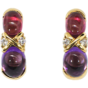 Estate Tiffany & Co. Paloma Picasso Amethyst Tourmaline Diamond Earrings 18k