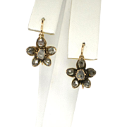 Lovely Victorian 1890's .72ct t.w. Rose Cut Diamond Rose Gold Flower Earrings 14k