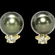 Estate 11mm Black Tahitian Pearl & .30ct t.w. Diamond Earrings 18k