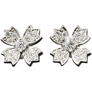 Estate Tiffany & Co. .70ct t.w. Diamond Floret Snowflake Stud Earrings Platinum