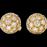 Estate Vintage 1ct t.w. Dome Ball Diamond Pave' Stud Earrings 18k