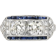 Art Deco 1930's Vintage 1.6ct t.w. Old European Cut Diamond & Sapphire Engagement ...