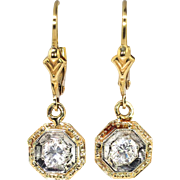 Vintage Art Deco 1930's .35ct t.w. Diamond Drop Two Tone Earrings 14k