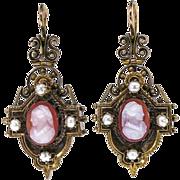 Simply Fantastic Victorian Carnelian Cameo & Pearl Earrings 14k