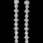 Glorious Estate Rose Cut Diamond Shoulder Duster Chandelier Earrings 18k