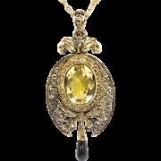 Circa 1875 Rose Cut Diamond, Onyx & Citrine Filigree Pendant Locket Necklace w/ Chain 15k/