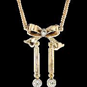 Early 1900's .71ct t.w. Old European Cut Diamond Bow Motif Necklace 14k/10k