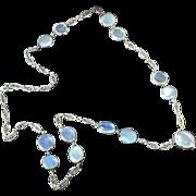 Antique Art Nouveau 1900's 30ct t.w. Moonstone Necklace Sterling Silver