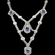 Vintage 1940's 9.60ct t.w. Natural Blue Sapphire & Diamond Festoon Necklace Platinum