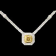 Lovely 1.16ct t.w. Radiant Cut Fancy Yellow Diamond & White Diamond Pendant 18k