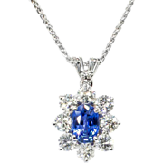 SALE Bright Blue & Beautiful Estate 2.02ct t.w. Natural Sapphire Diamond Pendant 18k