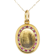 SALE Antique .30ct t.w. Old Mine Cut Diamond & Natural Ruby Solid Gold Locket Pendant ...