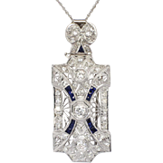 Art Deco 1.33ct t.w. 1930's Old European Cut Diamond Sapphire Pendant Pin 14k