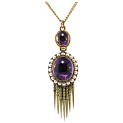 SALE English Rare Antique Amethyst & Pearl Tassel Pendant 15k