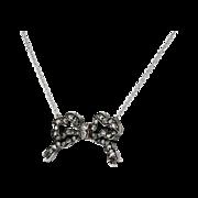 Sweet Rose Cut Vintage Diamond Bow Pendant Necklace 14k/SS